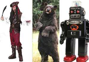 Pirate, bear and robot