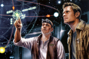 Authors Jason Fry (left) and Dan Wallace depicted as hyperspace scouts. Image illustrated by Chris Trevas.