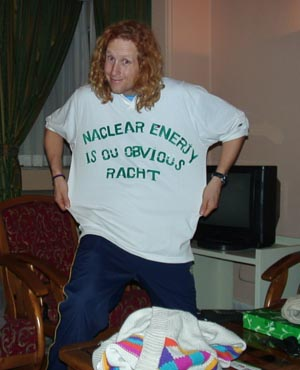 MacNiven with T-shirt for Iran's nuclear right