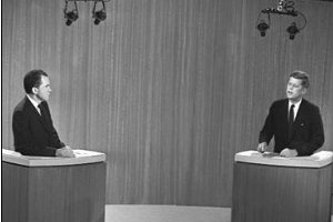 Nixon and Kennedy square off in the first televised debate.