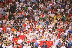 Fans at the US-China Olympic Basketball Game. Image courtesy of kk+'s flickr stream.