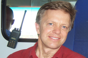 Ted Conover in an ambulance in Lagos, Nigeria.
